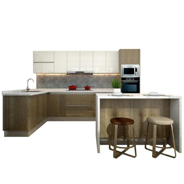 (Privileged Deposit) L-Shaped Laminate Wooden Kitchen Furniture with Small Island