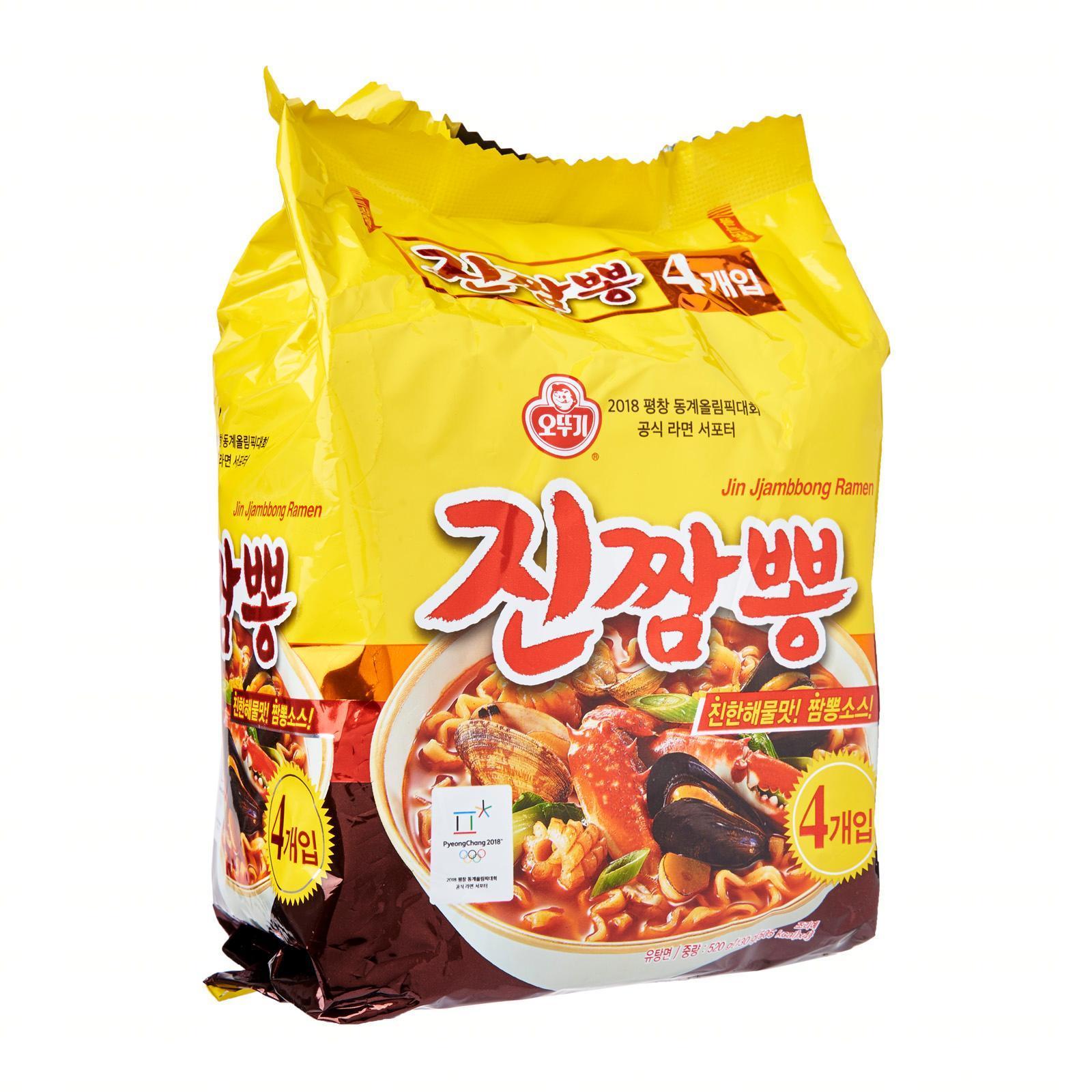 Ottogi Korean Jin Jjambong Seafood Spicy Instant Ramen Noodles 4s
