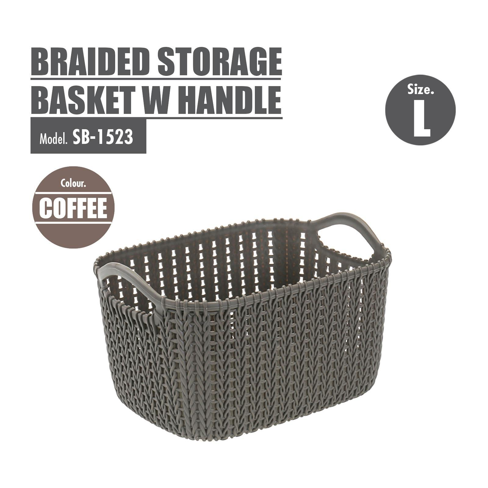 Houze Braided Storage Basket With Handle - Large - White - SB-1523-WHITE