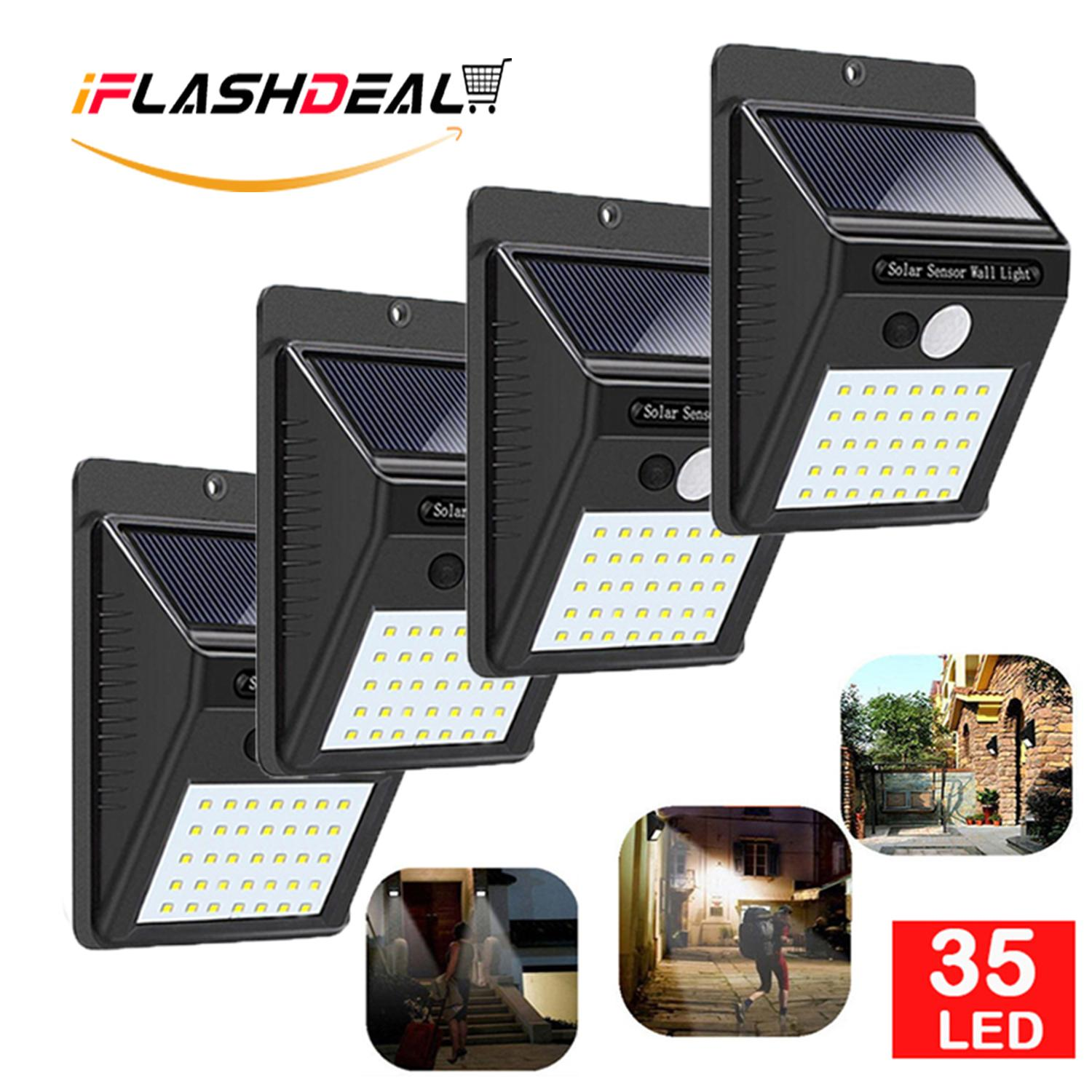iFlashDeal 35 LED Solar Powered Wall Light Outdoor Lighting Waterproof Wall Lamp Motion Sensor Wireless Security Lights for Driveway Patio Garden Path 【4 Pack】