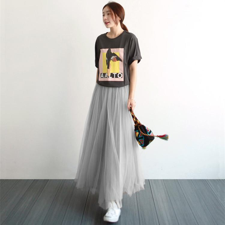 cd0c9590f 2019 Autumn And Winter Korean Style Gauze Skirt Female High-waisted Long  Skirts A-