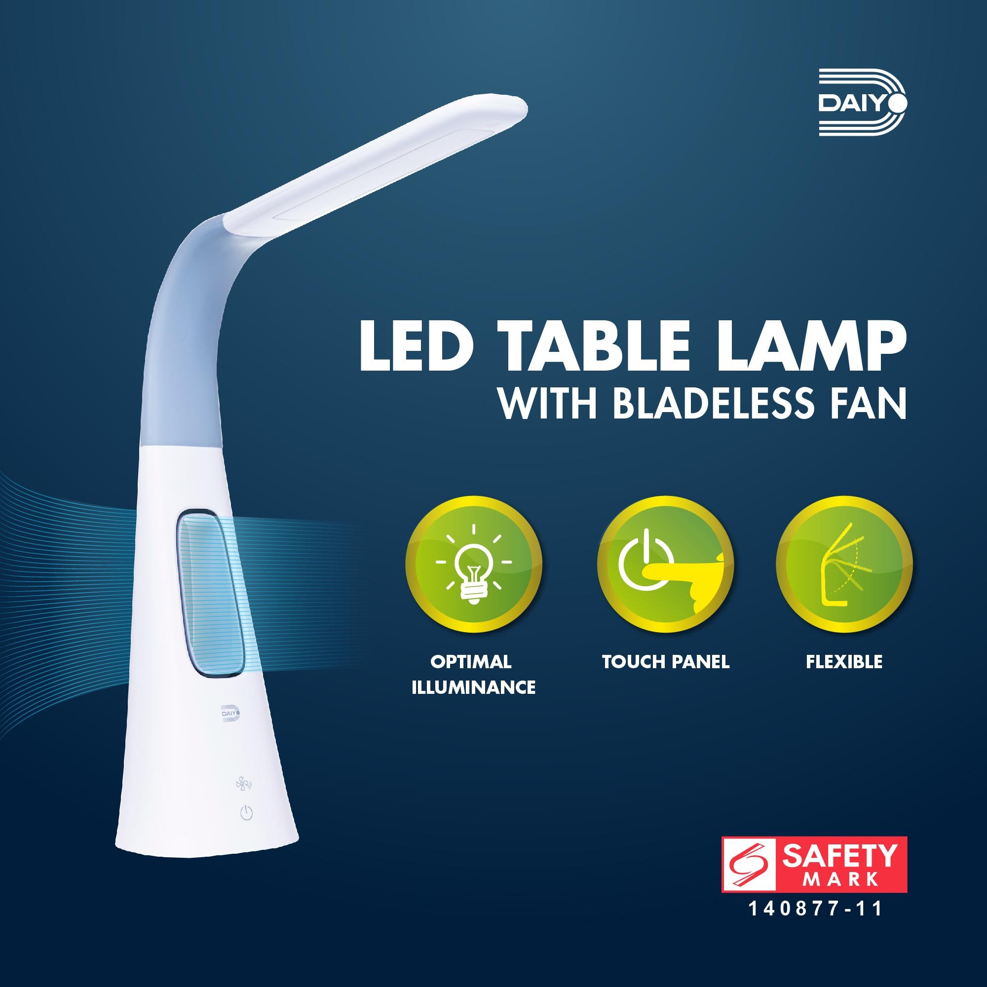 Daiyo LED Flexible Table Lamp with Bladeless Fan, Dimmer Power Control (Grey)