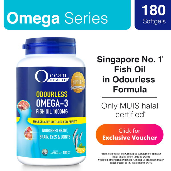 Buy [Ocean Health] Odourless Omega 3 Fish Oil 1000mg (180 Softgels) Singapore