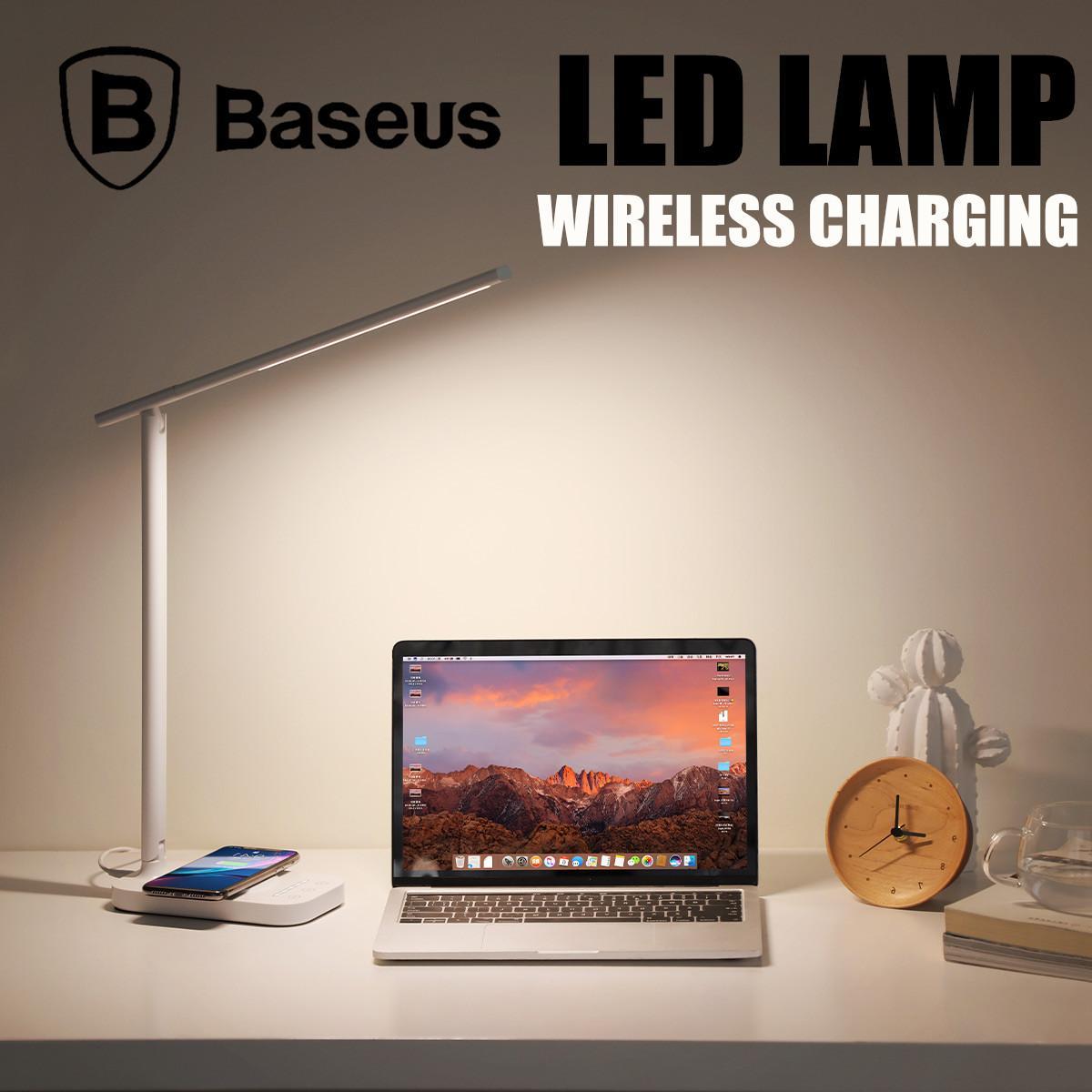 Baseus Lett LED Lamp Wireless Charging Foldable Desk LED Table Lamp 3 Light Mode 5 Brightness Level EU Plug / White