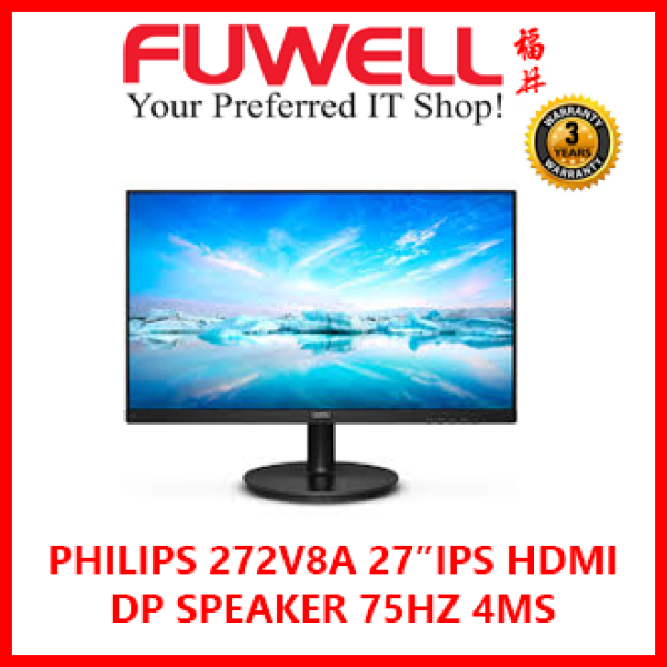 Philips 27 inch 272V8A / 272V8A/69 Full HD IPS Monitor / DP + HDMI + VGA / Built-In-Speaker / 75Hz [ 3Years Local Warranty ]