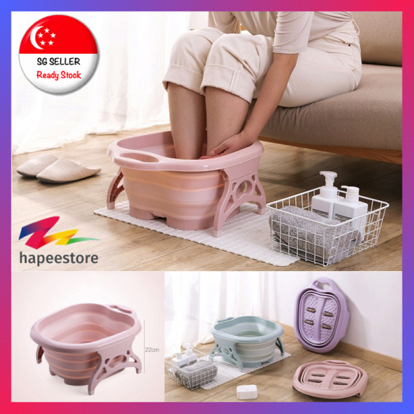 Buy [SG Seller] (Pink) Foldable Footbath Spa Massage Bucket Foot Bath Basin Singapore