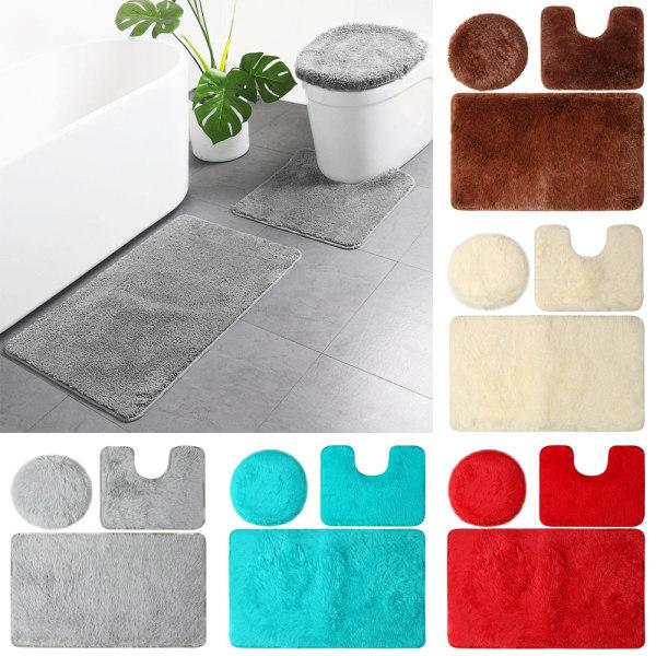 3 Tấm THẢM PHÒNG TẮM Bộ Thảm Phòng Tắm Chống Trượt Tấm Phủ Nắp Bồn Cầu Có Thể Giặt Được Bộ Thảm Bệ Trang Trí Nội Thất