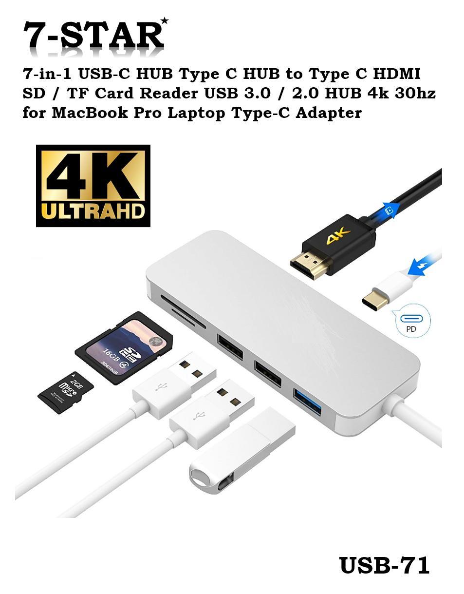 [SG Local Seller] 7-in-1 USB-C HUB Type C HUB to Type C HDMI SD / TF Card Reader USB 3.0 / 2.0 HUB 4k 30hz for MacBook Pro Laptop Type-C Adapter - 7 Port USB C Hub 7 in 1