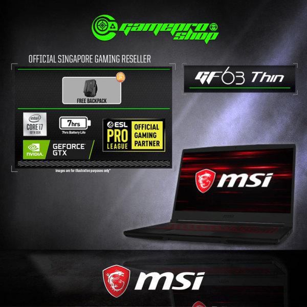 MSI GF63 Thin 10SCXR Gaming Laptop (i7-10750H /Nvidia GTX1650 Max-Q 4GB DDR5/ 8GB / 512GB SSD/ WIN 10/15.6 FHD) - 10SCXR-247SG (2Y)
