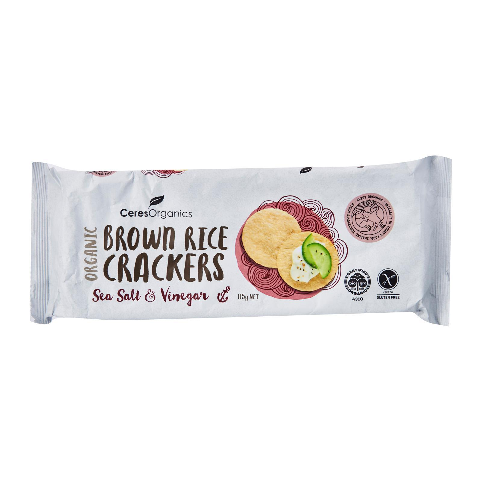 CERES ORGANICS Brown Rice Crackers Sea Salt and Vinegar - by Optimo Foods