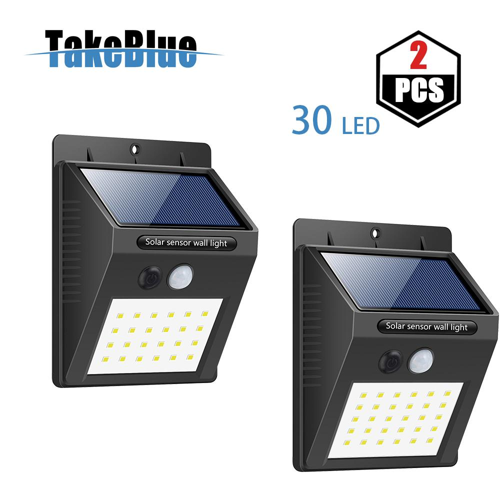 TakeBlue 30 LED Solar Lights Outdoor , 3 Intelligent Modes , Waterproof Solar Powered Motion Sensor Light Wireless Security Lights Outside Wall Lamp for Driveway Patio Garden Path 2  Pack Singapore