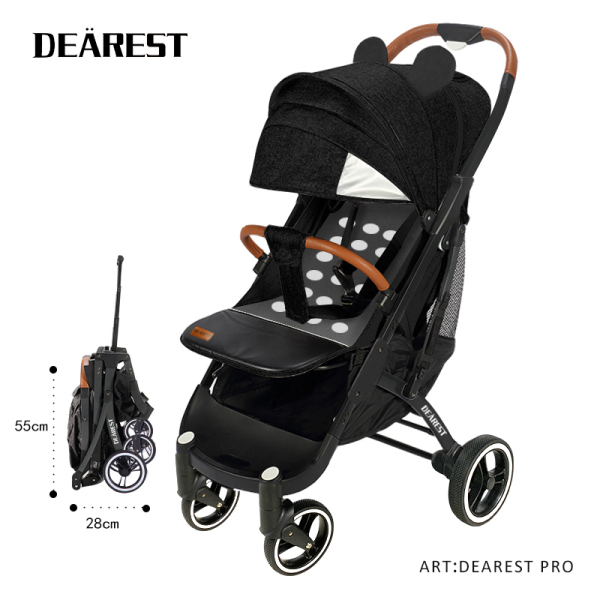 DEAREST PRO Upgrated Quick Folding Cabin Size Lightweight Lite Baby Stroller with Tie Rod Reflective Safety Strip Skylight Pram Singapore