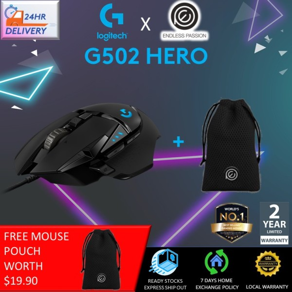 Logitech G502 HERO RGB Tunable with 11 Programmable Buttons [Free Mouse Pouch + 24 hours delivery]