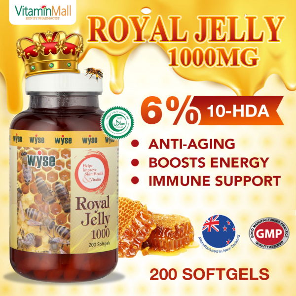Buy NZ Wyse Halal Royal Jelly 1000mg - 200 Softgels - 6% 10-HDA Royal Jelly Supplement - Supports Skin Health, Vitality - Boost Immune Health Singapore