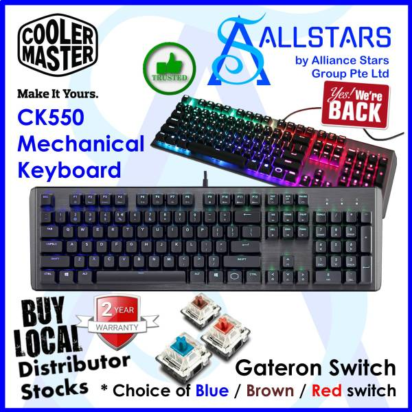 (ALLSTARS : We are Back / Gaming Promo) CM / COOLERMASTER / Cooler Master CK550 RGB Mechanical Keyboard (GATERON Blue Switch : CK-550-GKGL1-US / Brown switch : CK-550-GKGM1-US / Red Switch : CK-550-GKGR1-US)-Wrty 2years with BanLeong Singapore