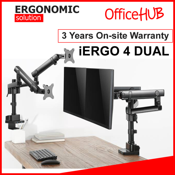 iErgo 4 Dual Monitor Arm ★ Monitor Mount ★ Monitor Stand ★ Desk stand ★ Ergonomic Stand ★ Table Mount ★ USB 3.0 ★ Fits Monitor Screens up to 32 Inch ★ Max Weight 8 KG ★ VESA Mount ★ Height Adjustable ★ Clamp Grommet Mount To Desk ★