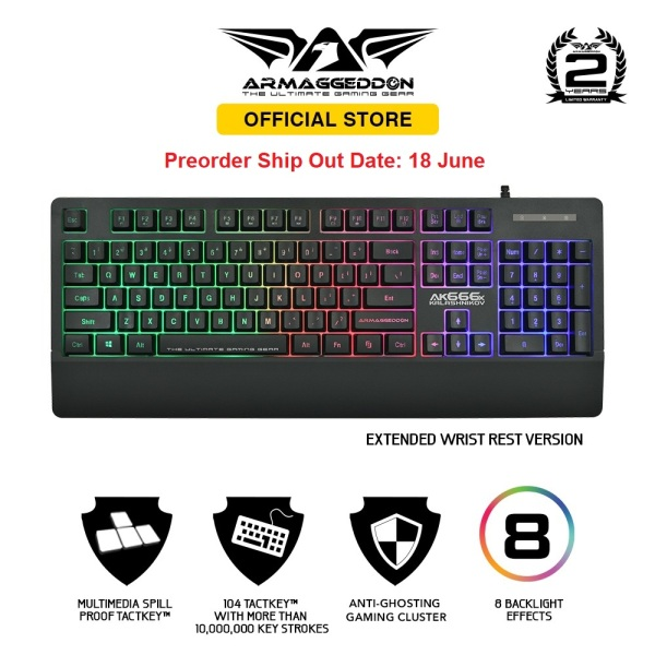 [Preorder] Armaggeddon Kalashnikov AK666x Anti-Ghosting And Spill Proof Backlit Keyboard - 8 Lighting Effect Singapore