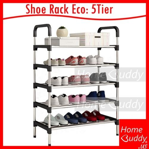 Shoe Rack Eco [Stainless Steel] 5 Tiers_ READY Stocks SG. Reach you 2 to 4 work days_ HomeBuddy_ Acev Pacific_ shoe cabinet_ bto shoe rack