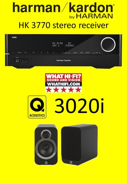 Harman Kardon HK3770 (NO vTuner internet radio) with Q Acoustics 3020i Bookshelf Speakers (FREE GIFT) Singapore