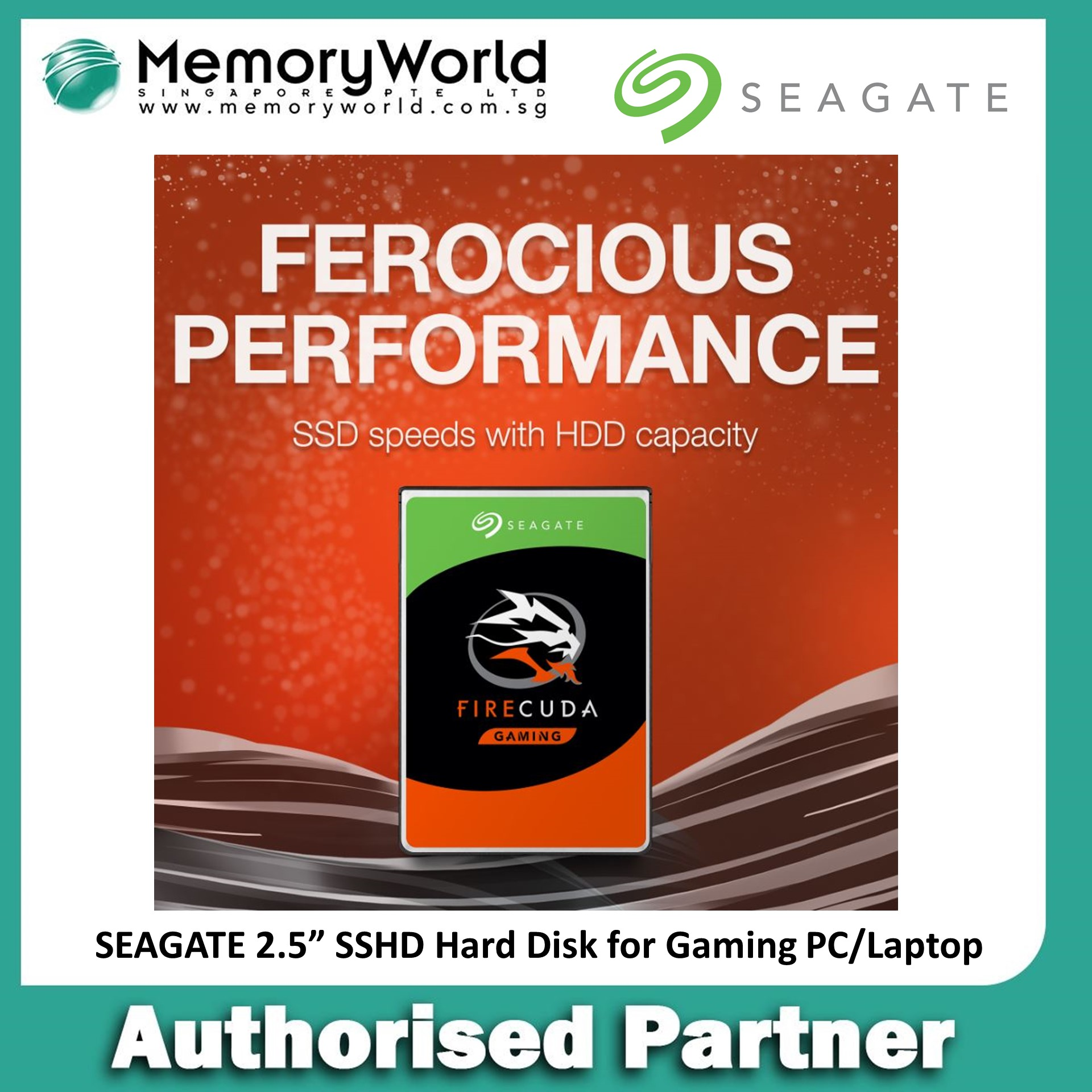Seagate Firecuda 2.5 1tb Gaming Flash Accelerated Performance Hard Drive, Solid State Hybrid Drive (sshd) Hard Disk For Gaming Pc/ Laptop.  Seagate Singapore Warranty 5 Years.  **seagate Official Partner**.