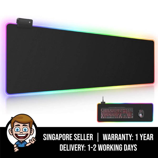 RGB Gaming Mouse Pad, Large Extended Soft Led Mouse Pad with 14 Lighting Modes 2 Brightness Levels, Computer Keyboard Mousepads Mat 800 x 300mm / 31.5×11.8 inches