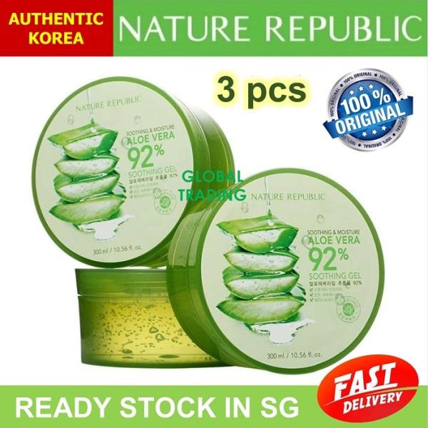 Buy PROMO BUNDLE 3 Nature Republic Soothing and Moisture Aloe Vera 92% Soothing Gel 300 ml [BEST SELLER] Singapore