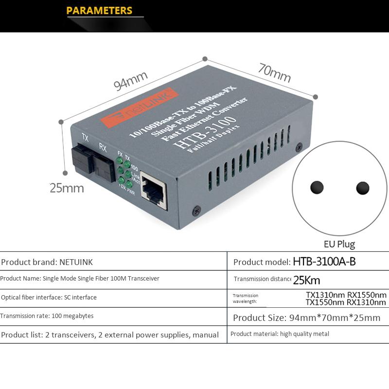 Bảng giá 1 Pair HTB-3100 Optical Fiber Media Converter Fiber Transceiver Single Fiber Converter 25Km SC 10/100M Singlemode Single Fiber(EU Plug) Phong Vũ