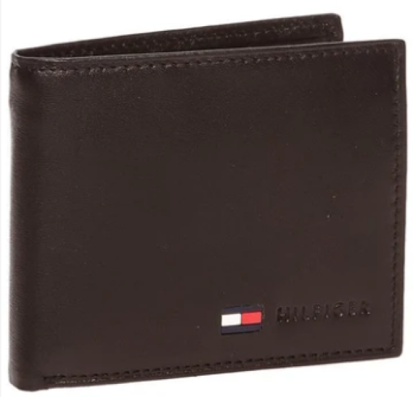 [SG SELLER] Tommy Hilfiger Mens Leather Stockon Coin Wallet with Faux Leather Gift box (Black & Brown)