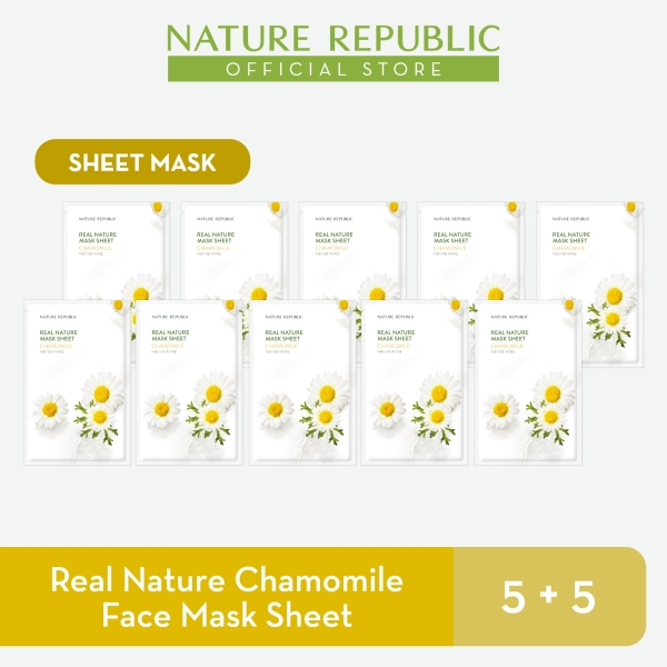 Buy Nature Republic Real Nature Chamomile Face Mask Sheet - for Normal Skin (5+5) Singapore