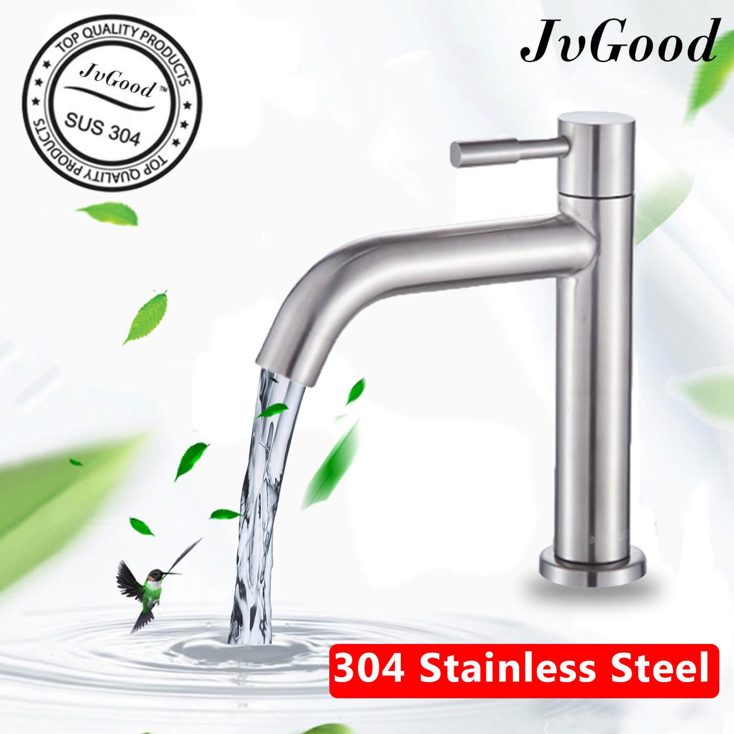 Jvgood Bathroom Tapware, Stainless Steel Basin Faucet Sus 304 Bathroom Faucet Basin Tap Bathroom Wash Sink Basin Single Lever Cold Water Bib Tap Faucet (nickel) By Jvgood.