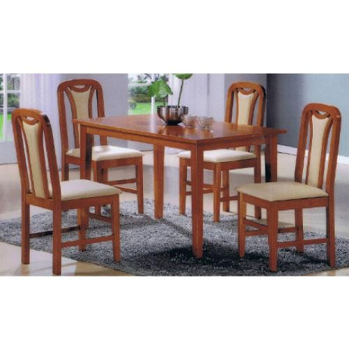 [A-STAR] SOLID WOOD Cushion Dining Set in Cherry (1+4)