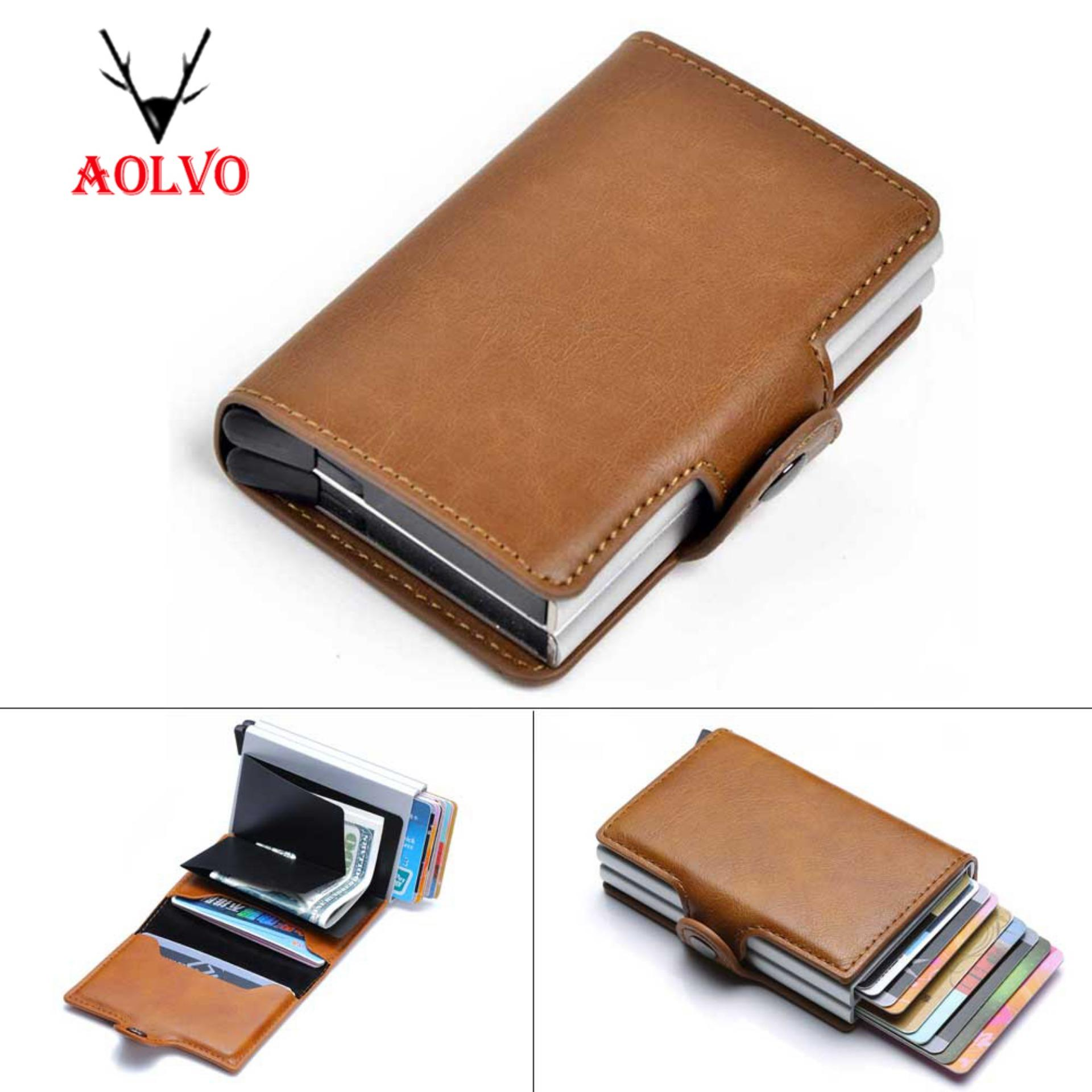 PU RFID Blocking Aluminum Credit Card Holder Money Clip Automatic Pop Up Slide Out Front Pocket