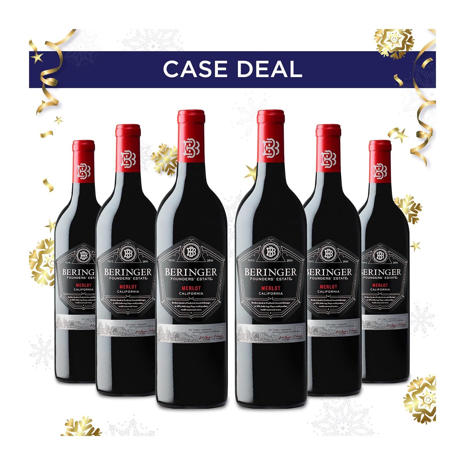 Beringer Founders Estate Merlot Red Wine - Case - By Wine Collection