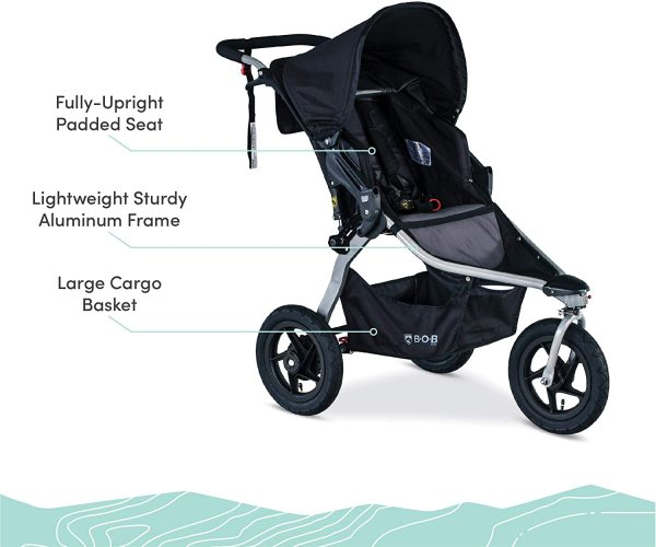 BOB Gear Rambler Infant Baby Children Child Kids Sports Exercise Running Jogging Stroller Jogger. Smooth Ride Suspension and Easy Fold + XL Extra Large Canopy Cover Coverage, Black New Logo Singapore