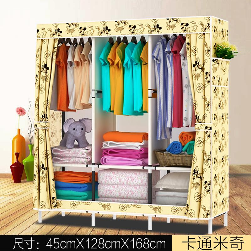 Simple Wardrobe Steel Frame Fabric Oxford Cloth Closet Steel Pipe Assembly Double Large Size Closet