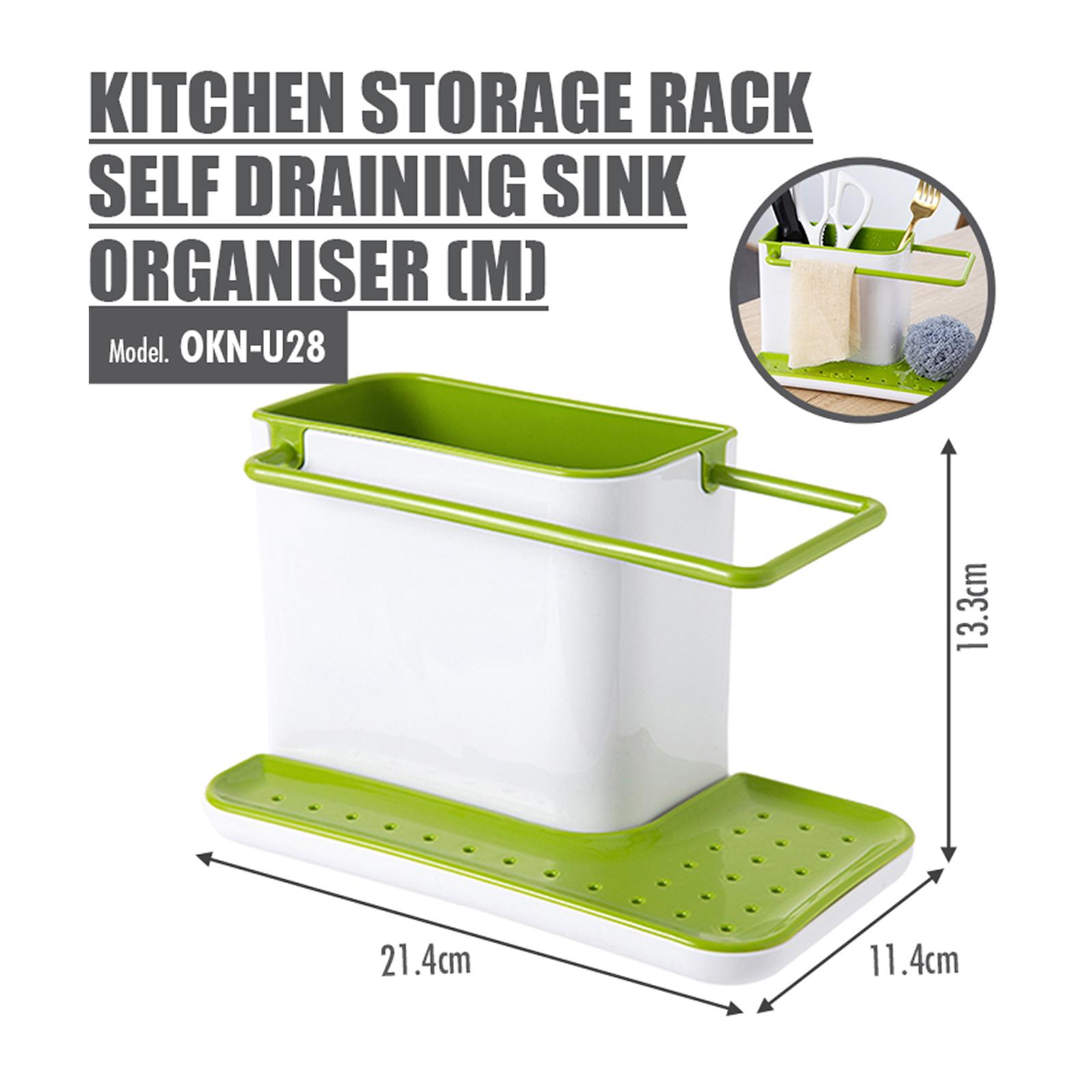HOUZE Kitchen Storage Rack Self Draining Sink Organiser (Medium)