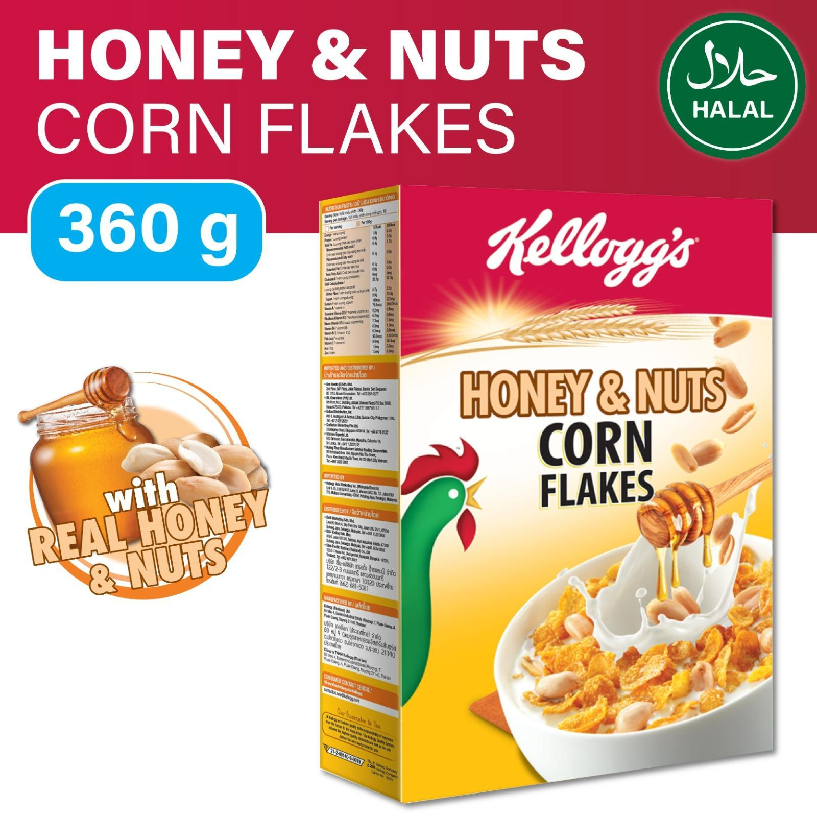 Kellogg's Honey and Nuts Corn Flakes Breakfast Cereal