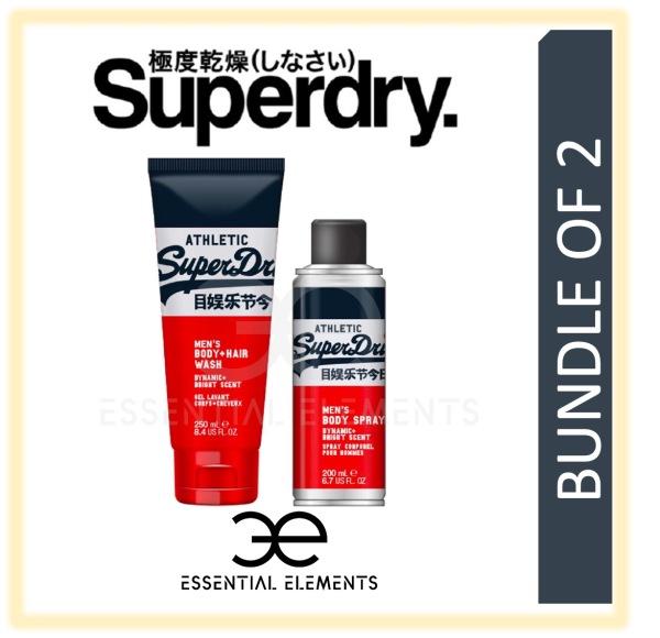 Buy SUPERDRY [BUNDLE OF 2] ATHLETIC MEN BODY & HAIR WASH 250ML + BODY SPRAY 200ML   SPORT ORIGINAL GROOMING ATHLETIC BATH SHOWER DEODORANT SHAMPOO T SHIRT Singapore