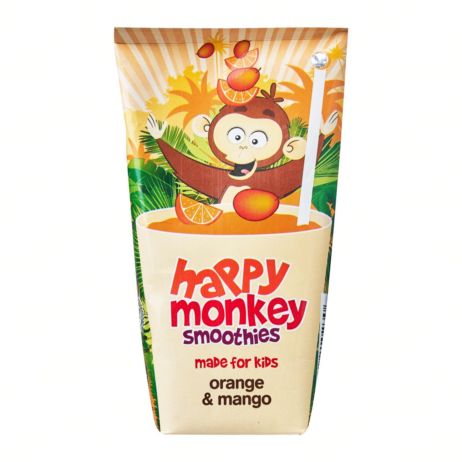 HAPPY MONKEY 100-Percent Fruit Smoothies - Made for Kids - Orange Mango
