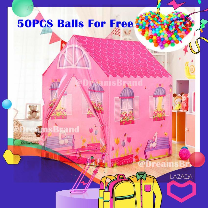 [hot Deal] Ready Stock Free 50 Balls + Girls Princess Play Tent Playhouse Toys Tunnel (pink) By Dreamsbrand.