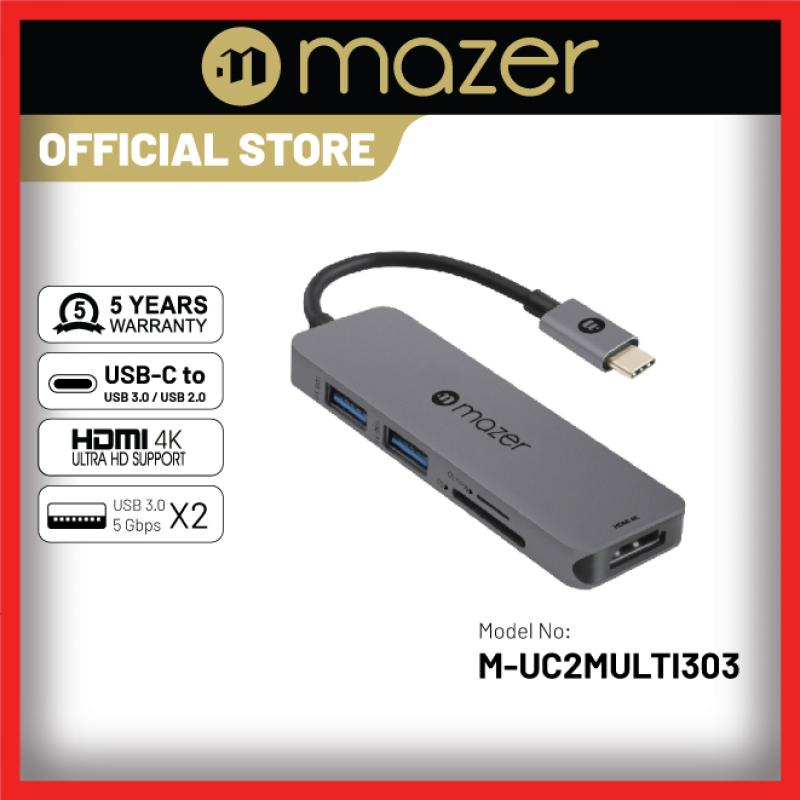 Mazer/M-UC2MULTI303-GY/USB-C to HDMI4K+USB3.0X2+SD/Micro SD Adapter-Grey (5 year warranty)