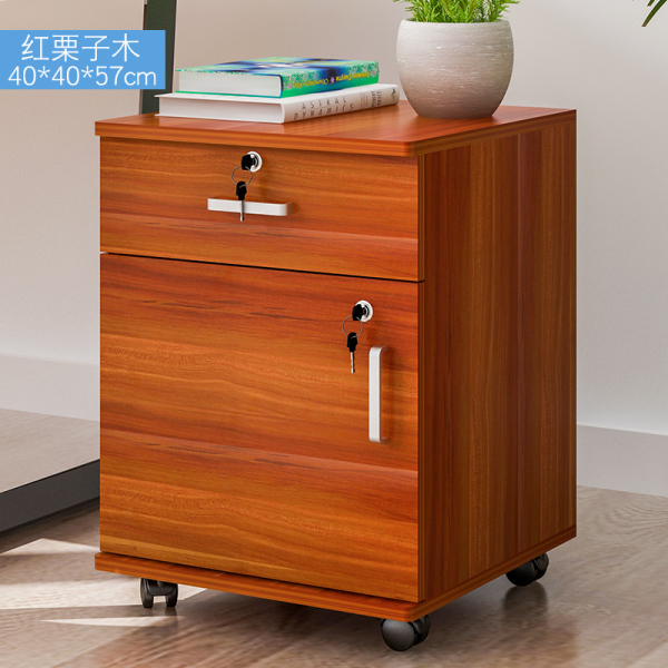Wood Bedside Table Home Cabinet Information ban gong ju Three Drawer with Lock Small Cabinet Low Cabinet under the Movable Cabinet