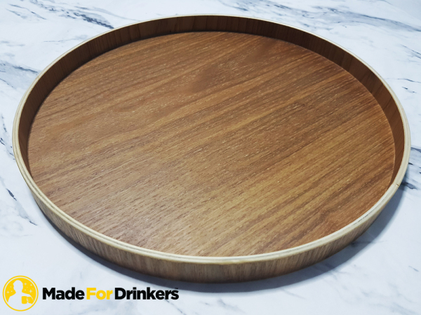 Round Wooden Tray - 30cm diameter / 2cm rim height - Perfect match with Sake Flask Set - Good For Sake Set / Wine Set / Glasswares  [Made For Drinkers]