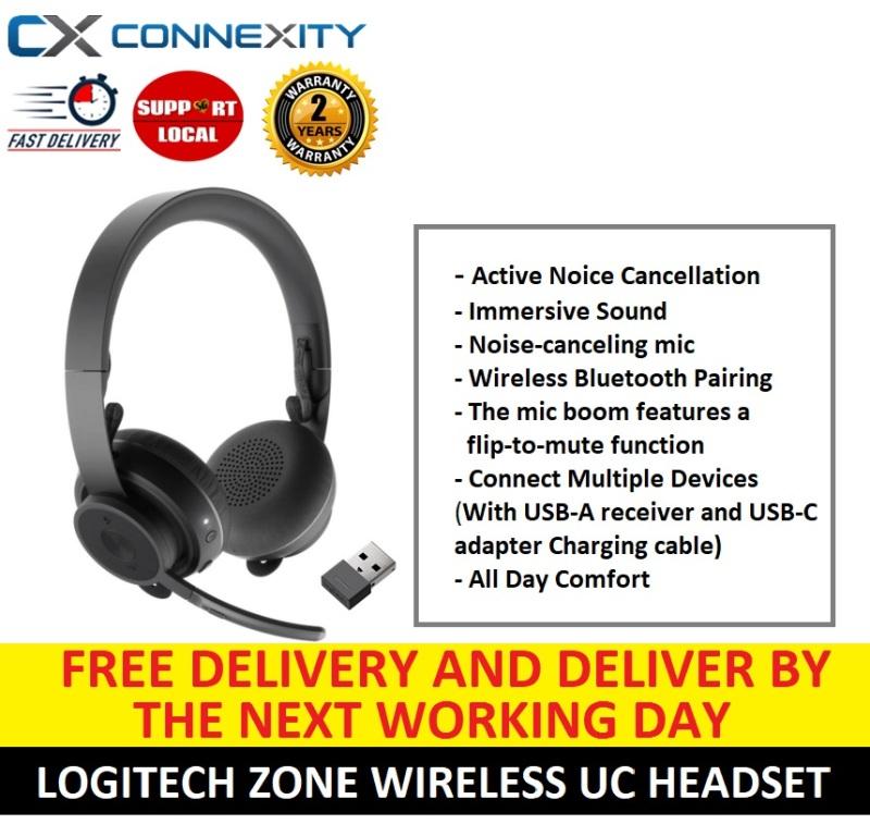 Logitech Zone Wireless UC Headset | 981-000915 | Noise Cancelling Headset with Microphone l Logitech Zone Wireless l Logitech Headset with Mic l Logitech Noise Cancelling Headset l Logitech Wireless Headset l 5012959 Singapore