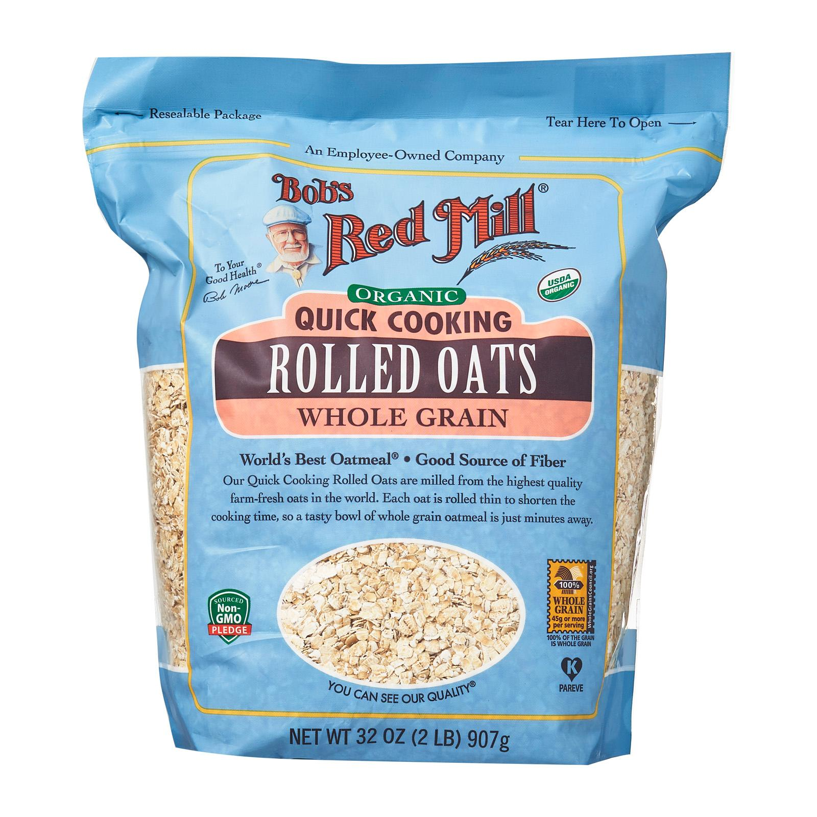 Bob's Red Mill Organic Rolled Quick Cooking Whole Grain Oats