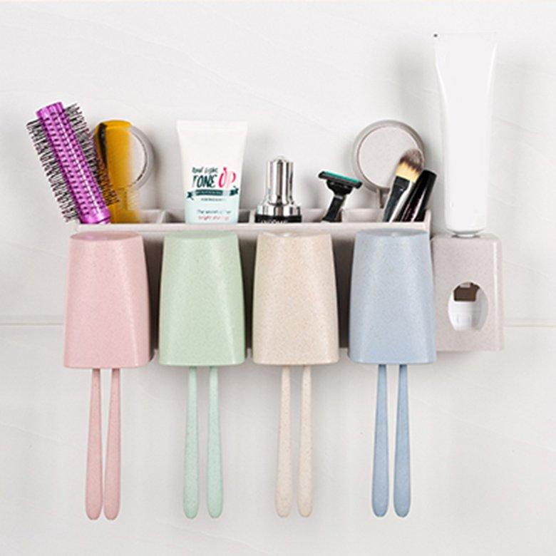 HORI Wheat Straw Wall Mount Toothbrush Holder Wash Suit with Toothpaste Squeezer