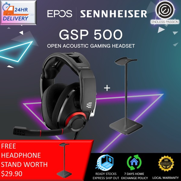 EPOS SENNHEISER GSP 500 Wired Open Acoustic Gaming Headset, Noise-Cancelling Microphone, Adjustable Headband with Customizable Contact Pressure, Volume Control, PC + Mac + Xbox + PS4, Pro –Black/Red [FREE Headphone Stand + 24 Hours Delivery]