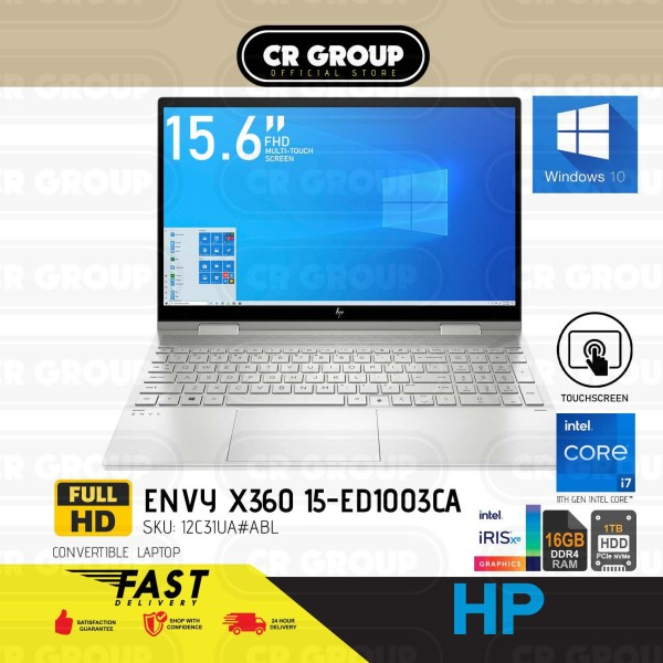 [Same Day Delivery] HP i7 Envy x360 15.6 2 in 1 Laptop Touchscreen 15-ED1003CA | 11th Gen Intel i7-1165G7 | 16GB DDR4 RAM | 1TB PCIe NVMe M.2 SSD | Intel Iris Xe Graphics