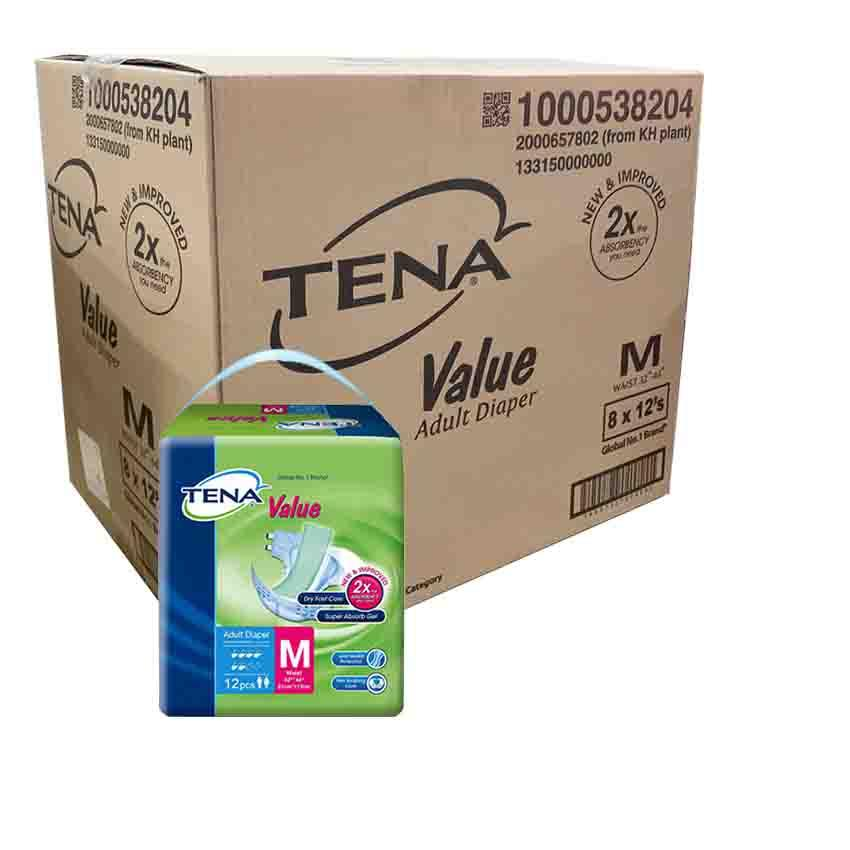 Tena Value Adult Diapers 8 Packs (8 X 12s) [carton Deal] By Chaphediam.