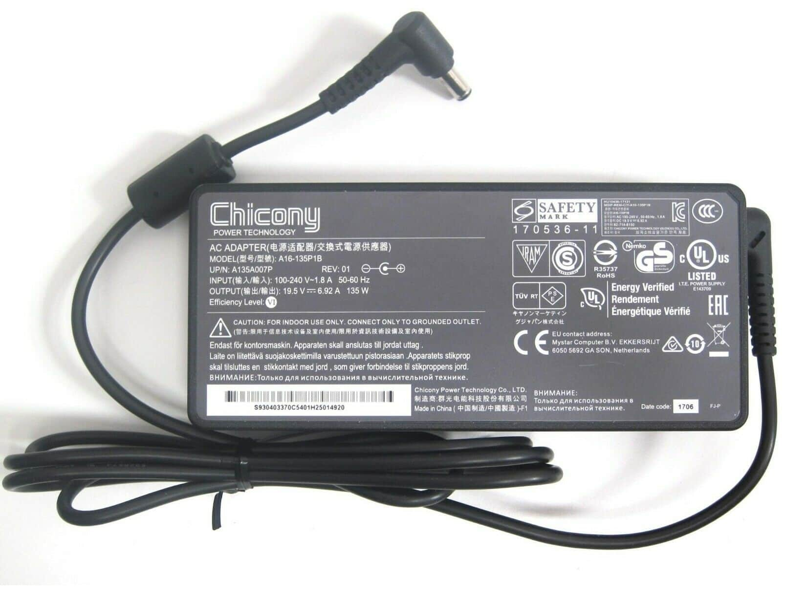 [SG Seller] Original Chicony 19.5V 6.92A 135W (5.5*2.5MM) A16-135P1B Power Supply Laptop AC Adapter/ Charger Compatible with MSI GL62M, GL72, GL72M, GP62, GP62MX, GP62X, MS-16J9, MS-16J51, ADP-150NB D, ADP-150VB B, 957-16H21P-004 - Singapore Safety Mark